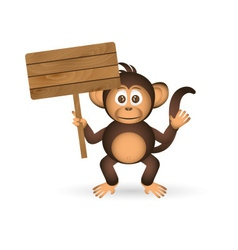 Cute chimpanzee little monkey holding empty wood vector