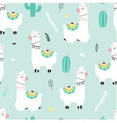 cute llama print design seamless pattern vector image