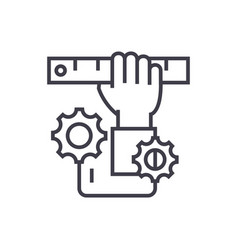 development hand with ruler concept thin vector image