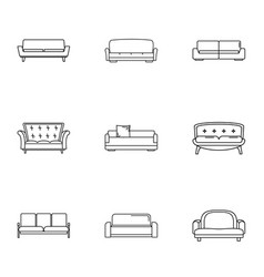 divan icons set outline style vector image
