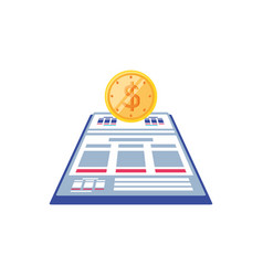 documents paper with coin isolated icon vector image