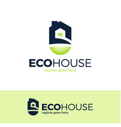 eco house logo design green home real estate vector image