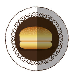 Emblem color hamburger bread icon vector