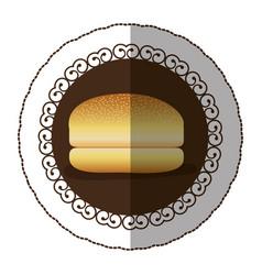 Emblem color hamburger bread icon vector