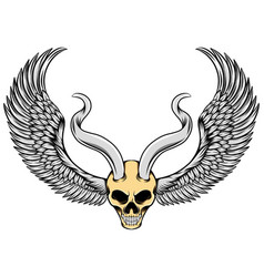 evil skull with metal horns and wings vector image