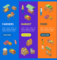farm local market banner vecrtical set isometric vector image