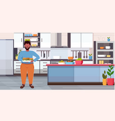 Fat overweight man holding tray with hamburgers vector
