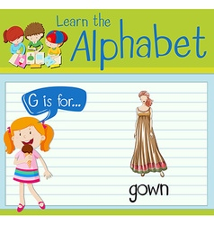 Flashcard letter G is for gown vector