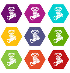 Gas pipe icons set 9 vector