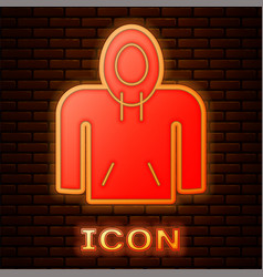 Glowing neon hoodie icon isolated on brick wall vector