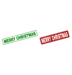 grunge merry christmas rubber prints with rounded vector image