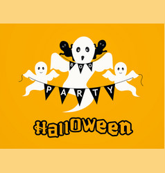 halloween party background with ghosts happy vector image