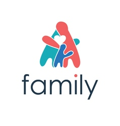Happy family icon with heart vector