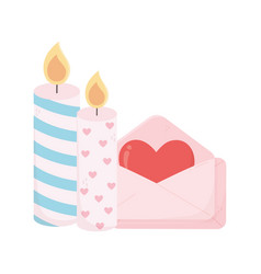 Happy valentines day candles and message love card vector