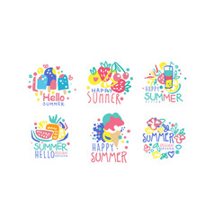 Hello summer original design labels collection vector
