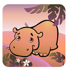 hippo in savanna vector image
