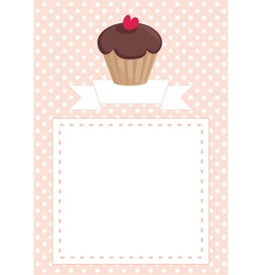 Invitation card with chocolate muffin on dots vector