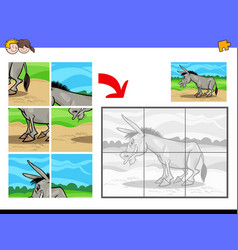 jigsaw puzzles with donkey farm animal vector image vector image