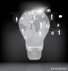 Light bulb with social networking concept vector image