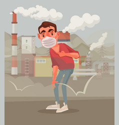 Man protective mask polluted air vector