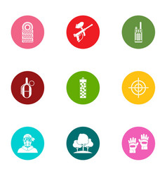 Military doctrine icons set flat style vector