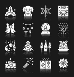 new year christmas white silhouette icon set vector image