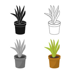 Office plant in th flowerpot icon in cartoon style vector