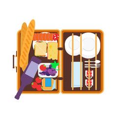 open basket for a picnic with tableware and foods vector image vector image