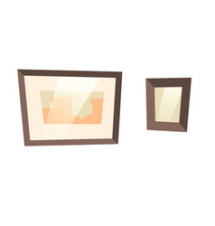 picture frame hanging on white wall cartoon vector image