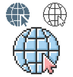 pixel icon globe with pointer arrow go to web vector image