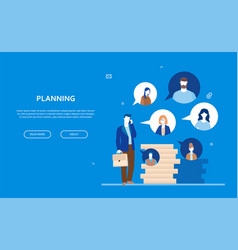 planning - flat design style colorful web banner vector image