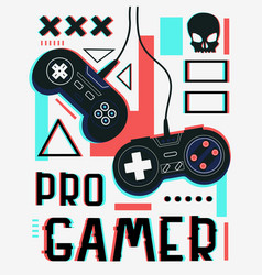 Play video game poster pro gamer concept wired vector