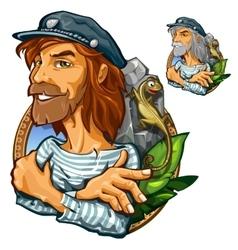 Portrait of man adventurer in expedition vector