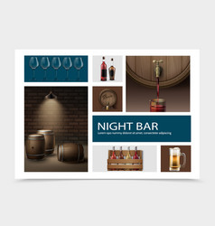 realistic night bar elements composition vector image