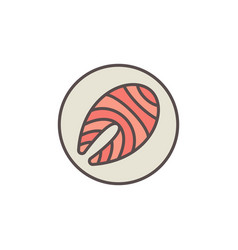 red fish steak in circle colored icon or vector image