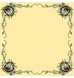 Roses frame oldskool Tattoo style design vector image