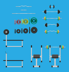 rubber and metal weights dumbbell and bench vector image