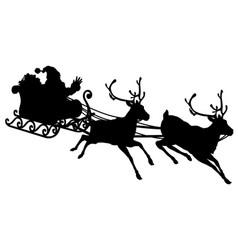 santa sleigh silhouette vector image