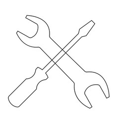 screwdriver and wrench the black color icon vector image