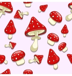 Seamless background amanita toxic mushrooms vector