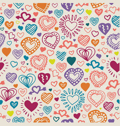 Seamless pattern withcolor hearts vector