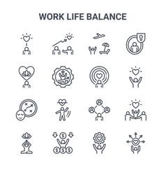 Set 16 work life balance concept line icons vector