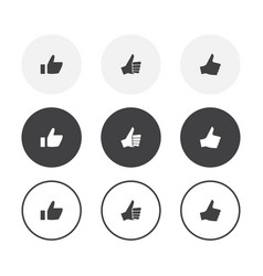 set 3 simple design thumb up icons rounded vector image