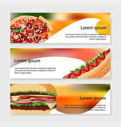 Set fast food banners bright meal vector