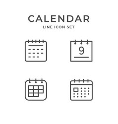 Set line icons calendar vector