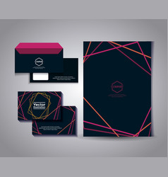 Set of business card with lines and envelope vector