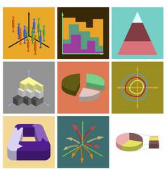 set of flat icons on stylish background economic vector image