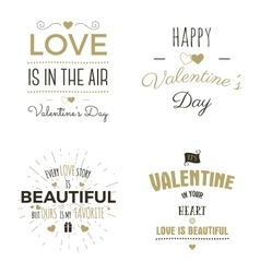 Set of Valentine day typography photo overlays vector