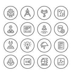 Set round line icons of engineering vector