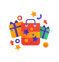 shopping symbols gift boxes and shopping bag vector image